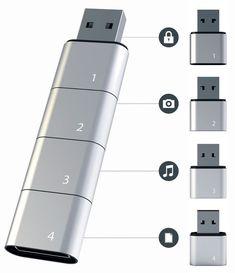 USB Flash Drive apilable Permite memoria, prácticamente ilimitada. por Richarddarell Cuando el concepto modular se añade a la tecnología, cosas maravillosas pueden suceder. Sólo echar un vistazo a esta innovadora unidad flash USB apilable por ejemplo.
