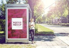 Outdoor busstop advertising mockup by patat on Best Presentation Templates, Billboard Mockup, Advertising Signs, Advertising Campaign, Kiosk, Photoshop, Poster, Outdoor, Ui Design