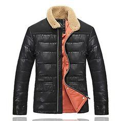 Men's Woolen Collar Contrast Color Down Coat