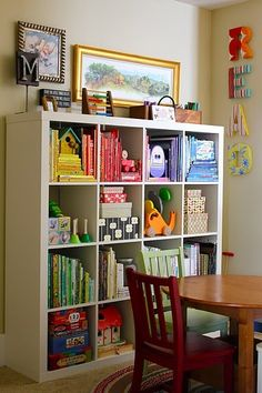 really cute kid's bookshelf- this would be great to section your books into Holidays,different seasons, etc.!  Love!