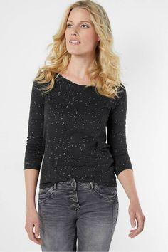Cecil Shirt met Glitterstippen - Black