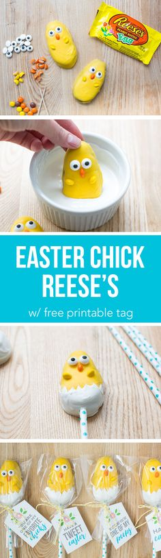 Easter Chick Treats - the most adorable candy chicks made from a Reese's egg! These are so easy to make and the kids will love helping make these cuties. Can you believe Easter is just around the corner? Easter Candy, Hoppy Easter, Easter Treats, Easter Chick, Easter Eggs, Easter Food, Easter Stuff, Easter Table, Holiday Treats