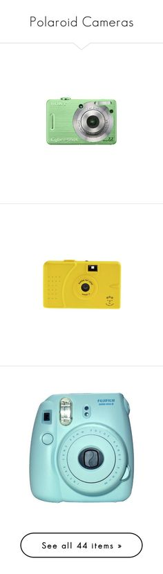 """""""Polaroid Cameras"""" by em-styles-16 ❤ liked on Polyvore featuring fillers, green fillers, green, electronics, camera, yellow fillers, misc, accessories, blue fillers and tech"""