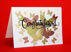 #SSS #SSSFaves Simon Says Stamp Butterfly set with Versamark and Wow embossing powders and Wow! melt-it enamel dots Simon Says Stamp Congratulations Die with Stick-it to make it a sticker