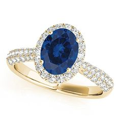 120 Ct Ttw Diamond And Oval Shaped Sapphire Ring In 10K Yellow Gold *** Want additional info? Click on the image.