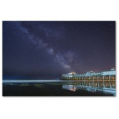 Trademark Art 'Pier in the Stars' by Michael Blanchette Graphic Art on Wrapped Canvas Size: