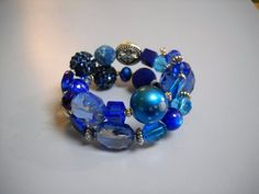 Cobalt Blue and Silver Beaded Memory Wire by Beads4You2008 on Etsy