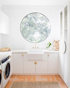 """Ever think to yourself. """"Why are windows square? We gathered our favorite round windows (designed into every room of the home) at the link in our bio! Head there to get inspired. Photo courtesy of and design by Three Birds Renovations, Laundry Room Inspiration, Feature Tiles, Laundry Room Design, Laundry Rooms, Window Design, Interior Design Studio, Interior Exterior, Decoration"""