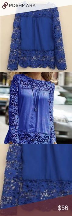 "Gorgeous blue long sleeve lace blouse Super cute blouse and very versatile. Made out of chiffon materials and lace. The lace has s cute flora design to it. MEASUREMENTS: MEDIUM- shoulder: 15"" bust:35.4"" sleeve:25"" length: 26"" ❤️ Tops Blouses"