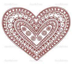 paisley heart tattoo pattern