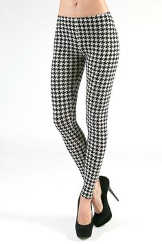 Sherlock's Houndstooth Leggings Super sturdy cotton-spandex very flattering leggings that stand up to wear and washing to make them the favorite basics of your wardrobe! Black and White classic leggin