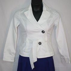 White House Black Market White Stretch Jacket Size 2 Two Button with Belt Women's Fashion