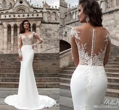 Cheap bridal gown, Buy Quality mermaid wedding dresses directly from China wedding dress Suppliers: Robe de mariage New Arrival Mermaid Wedding Dresses 2017 Illusion Neck Long Sleeves Court Train Bridal Gowns Button Back Plus Size Wedding Gowns, Long Wedding Dresses, Long Sleeve Wedding, Bridal Dresses, Lace Wedding, Prom Dresses, Cream Wedding, Maroon Wedding, Bridesmaid Dresses