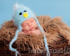 Little Blue Bird Baby Hat  with Earflaps and Ties Soooo by PamKR, $19.99