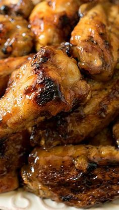 Honey Mustard Soy Glazed Chicken Wings - Some of the best grilled chicken wings you& ever eat! The sauce on these wings is fantastic! Turkey Recipes, Meat Recipes, Asian Recipes, Cooking Recipes, Cooking Tips, Grilled Chicken Wings, Glazed Chicken, Ginger Chicken, Fried Chicken