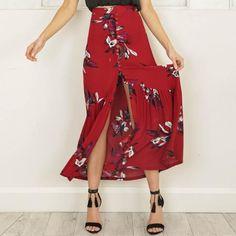 High Waisted Floral Print Maxi Skirt