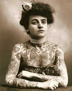 """sixpenceee:  """"Maud Wagner, the first well-known female tattoo artist in the United States, 1907.  """""""