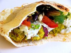 Pan Grilled Falafel on Pita with Tzatziki