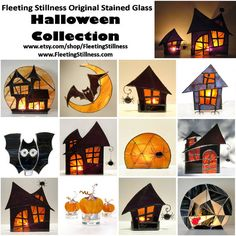 Halloween Stained Glass Candle Holder by FleetingStillness on Etsy