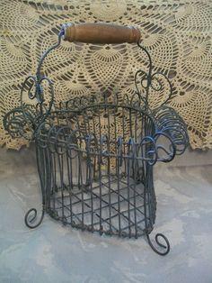 Metal heart shaped egg basket