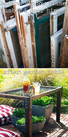 UPCYCLE | WINDOWS :: A window frame, lumbar & door hinges before a gorgeous table!