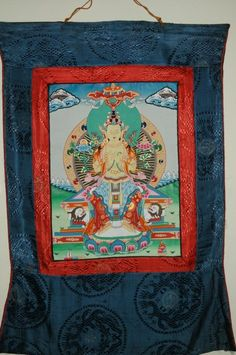 Beautiful, Nepalese thangka painting depicting a Tibetan Maitreya Buddha.  Who is Maitreya? Maitreya (Sanskrit) is a future Buddha of this world in Buddhist eschatology. In some Buddhist literature, such as the Amitabha Sutra and the Lotus Sutra, he is referred to as Ajita Bodhisattva.  Maitreya is a bodhisattva who in the Buddhist tradition is to appear on Earth, achieve complete enlightenment, and teach the pure dharma. According to scriptures, Maitreya will be a successor of the historic…