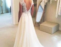 A-line Round Neckline Chiffon Lace Long Wedding Dresses, Wedding Gown, Open Back Wedding Dress, Lace Sleeves Wedding DressWant a glamorous red carpet look for a fraction of the price? This exquisite d..