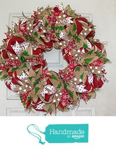 STUNNING Traditional Real Burlap and Ribbon Christmas Winter Door Wreath Handmade Hand Crafted from JJPrettyThings https://www.amazon.com/dp/B01M73A1BJ/ref=hnd_sw_r_pi_awdo_ISmnyb29408DV #handmadeatamazon