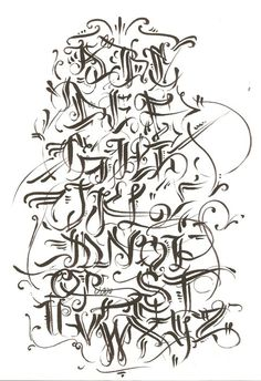 graffiti walls: Graffiti Alphabet Calligraphy in Several Design Sketches Letters A - Z