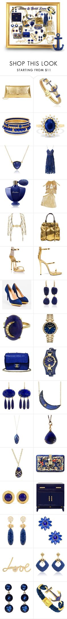 """for the love of Blue & Gold"" by caroline-buster-brown ❤ liked on Polyvore featuring Effy Jewelry, self-portrait, Guerlain, Zana Bayne, Lanvin, Giuseppe Zanotti, Charlotte Olympia, Lauren K, Andrea Fohrman and Karl Lagerfeld"