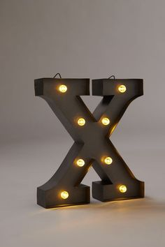 Midi Marquee Letter Lights, SILVER X