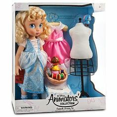 Limited Edition Deluxe Cinderella Doll Set - Disney Animators' Collection Includes 2 New Dresses, Dress Form, Sewing Basket, Bluebird, and Suzy the Mouse. by Disney. $59.95. Basket of play sewing accessories. Satin-covered hanger. Delicate lace trim on socks.. Suzy the mouse and bluebird figurines.. Cinderella wears a blue dress with sheer puff sleeves and peplum, plus intricate glitter detailing and silver piping.. Pink satin party dress trimmed with sheer bows, ...