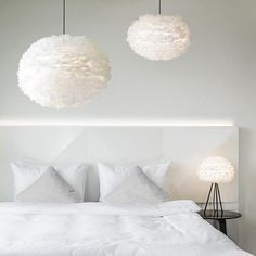 Goose feather cloud lampshade is made using real goose feathers. Perfect for the bedroom or living room