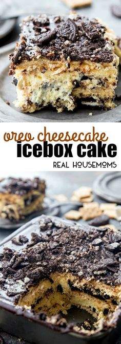 Oreo Cheesecake Icebox Cake is loaded with layers of graham crackers, no bake cheesecake, and OREOS for an easy, no-bake dessert you'll crave! via @realhousemoms