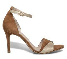 85fd8b6426219 Sandale talon croûte de cuir camel et doré  madeinfrance  shoes  heels. Eram  Officiel