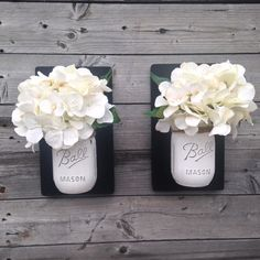 Set of Two Handpainted White Distressed Mason by TennesseeWicks