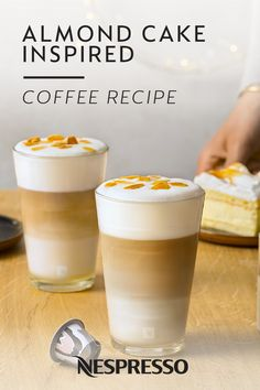 Now you can enjoy your favorite dessert in coffee form thanks to this easy recipe for Almond Cake Inspired. It's a sweet latte macchiato that tastes delicious morning, noon, or night. Just use your Nespresso Barista machine to create this rich and creamy frothed milk drink.