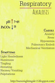 Nurse Nightingale: Respiratory Alkalosis Study Guide to interpreting acid-base imbalances. #rn #nursingschool #abgs http://nursenightingale13.blogspot.com/