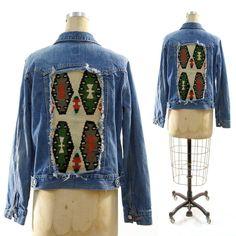 Kilim Denim Jacket / Upcycled / Recycled / Vintage / by nickiefrye, $72.00