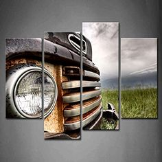 Wall art painting 4 Panel Wall Art Old Vintage Truck On The Prairie Painting Pictures Print On Canvas Car The Picture For Home Modern Decoration piece (Stretched By Wooden Frame,Ready To Hang) by Firstwallart Wall Art Pictures, Home Pictures, Pictures To Paint, Print Pictures, Painting Pictures, Car Wall Art, Panel Wall Art, Framed Wall Art, Artwork Prints