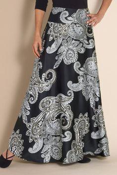 Paisley Abbey Skirt - Paisley Skirt, Floral Skirt, Black & White Paisley, Slimming Maxi Skirt   Soft Surroundings