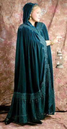 Wuthering Heights cloak in teal ~ $200 ~ This one I admire for its romantic lace along the border....A matching lace in my colors would be gorgeous too....
