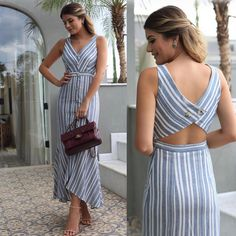 Image may contain: 2 people, people standing and stripes Cute Dresses, Casual Dresses, Casual Outfits, Fashion Dresses, Striped Outfits, Western Dresses, Western Outfits, Kurti Neck Designs, Blouse Designs