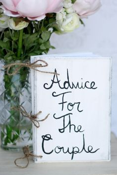Wedding Guest Book Advice For The Couple Shabby by braggingbags, $32.50