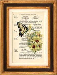 Yellow Daisies And Butterfly  Art Print on 1930's by PagesOfAges, $7.00
