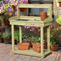Ship from USA Natural Wood Potting Bench Table with Sink and Outdoor Storage Spac ITEM NO8YIFW81854276812 * Click on the image for additional details.
