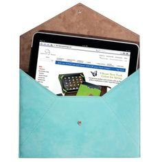 iPad Envelope in Nubuck Leather in light blue, $165 personalize (monogram) for an additional fee
