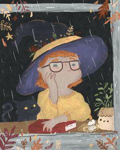 """bibliolectors: """" Día de lluvia, maravilloso para las brujas lectoras… y las no brujas (ilustración de Kye Cheng) """""""