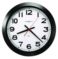Howard Miller Elegant Norcross Auto Daylight-Savings Wall Clock, 15-3/4', Black (625509) * Click image to review more details. (This is an affiliate link) #Clocks