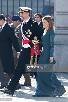 King Felipe VI of Spain and Queen Letizia of Spain attend the Pascua Militar ceremony at the Royal Palace on January 6, 2015 in Madrid, Spain.